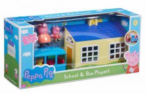 Prasátko PEPPA - škola a školní autobus  a 4  figurky  06593