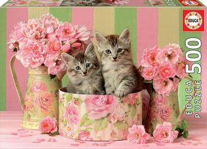 Puzzle EDUCA 500 dílků - Koťátka s růžemi 17960