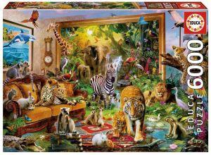 Puzzle EDUCA  6000 dílků - Divoká zvířata v ložnici 17679