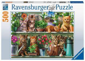 puzzle Ravensburger  500 dílků - Koťátka na poličce -  148240