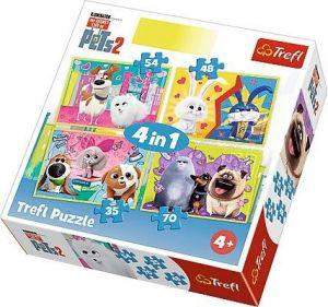 puzzle   Trefl 35, 48, 54 a 70  dílků -  4v1  -  Tajný život mazlíčků 2   34319