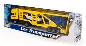 TEAMA - tahač Scania s návěsem na přepravu aut 4.ass  1:48  - žlutá barva