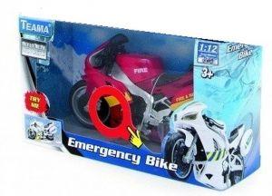 TEAMA - záchranářská motorka 1:12 se zvukem - hasičská - červená