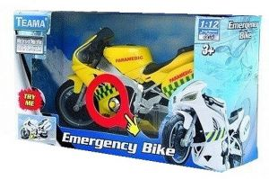 TEAMA - záchranářská motorka 1:12 se zvukem - paramedic - žlutá