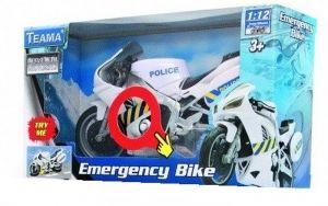 TEAMA - záchranářská motorka 1:12 se zvukem - policejní -  bílá