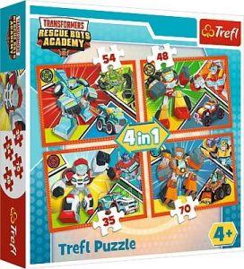 35, 48, 54 a 70  dílků -  4v1 -  puzzle   Trefl  Akademie transformérů   34313