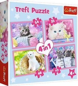 35, 48, 54 a 70  dílků -  4v1 -  puzzle   Trefl  Kočíčí zábavy  34330