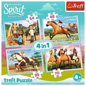 35, 48, 54 a 70  dílků -  4v1 -  puzzle   Trefl  Spirit - volnost nadevše  34334