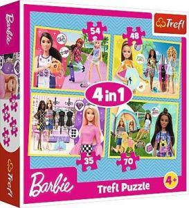 35, 48, 54 a 70  dílků -  4v1 -  puzzle   Trefl  ve světě Barbie   34333