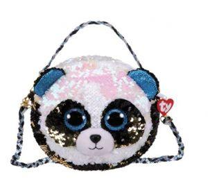 Meteor TY - plyšová kabelka na rameno  s flitry 6 ways - panda Bamboo  95136