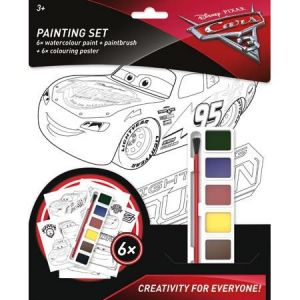CARS - omalovánky set -  6 omalovánek  a vodové barvy se štětcem