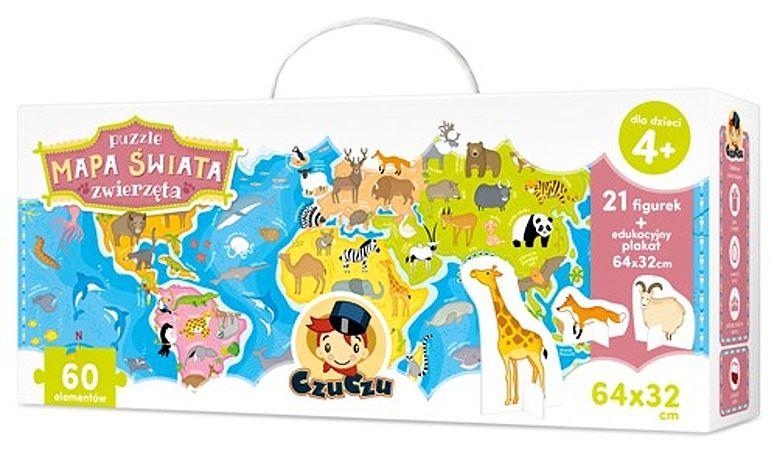 CzuCzu Puzzle Mapa světa - zvířata 60 dílků + plakát a figurky