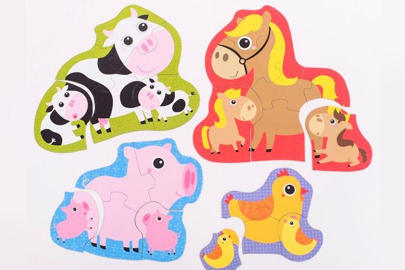 CzuCzu Puzzle Zvířátka na vesnici 4, 5, 6 a 7 = 22 dílků