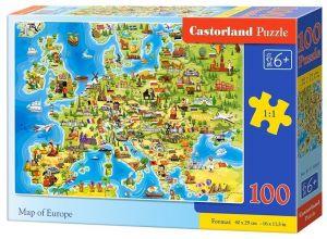 Puzzle Castorland 100 dílků premium  - Mapa Evropy 111060