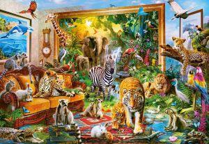 Puzzle Castorland 1000 dílků - Divoká zvířata v ložnici 104321