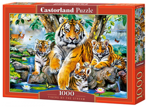 Puzzle Castorland  1000 dílků - Tygří rodinka u potoka  104413