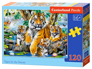 Puzzle Castorland 120 dílků - Tygří rodinka u potoka  13517