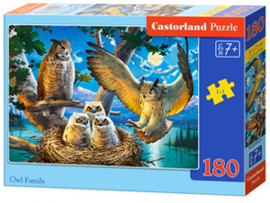 Puzzle Castorland 180 dílků - Soví rodinka  018437