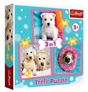 Puzzle   Trefl  3v1 - 20, 36 a 50 dílků  - Pejsci v koupeli   34845