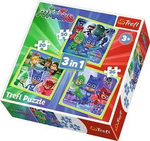 Puzzle   Trefl  3v1 - 20, 36 a 50 dílků  - Pyžamasky  34840