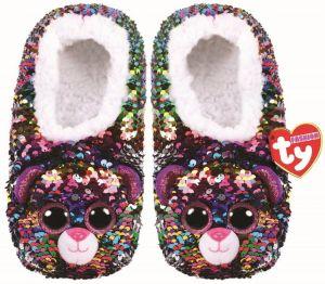 TY plyšové papuče  s flitry  - Leopard DOTTY - vel.L   955654