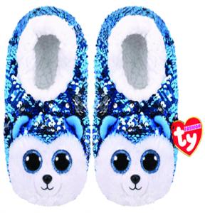 TY plyšové papuče  s flitry  - pejsek husky  SLUSH  - vel.M   95532