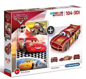 Clementoni puzzle 104 dílků + 3D figurka - CARS   20160