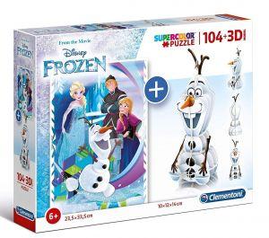 Clementoni puzzle 104 dílků + 3D figurka - Frozen   20159