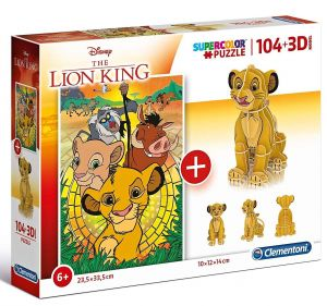 Clementoni puzzle 104 dílků + 3D figurka - Lví král  20158