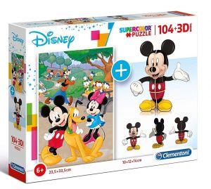 Clementoni puzzle 104 dílků + 3D figurka - Mickey Mouse  20157