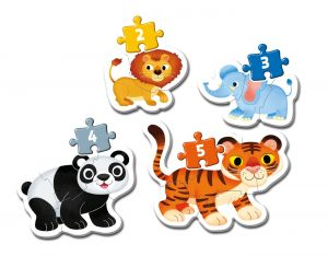 Clementoni Puzzle pro nejmenší - My first  4v1  - divoká  zvířátka  20810