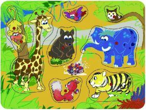 Dřevěná vkládačka s úchyty - safari   22 x 30 cm   8 dílků