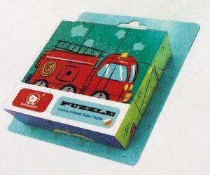 Dřevěné obrázkové  kostky - Požární vozidla  - 9 ks kubus