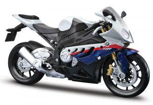Maisto motorka 1:12 Kit - BMW S100RR modrobílá