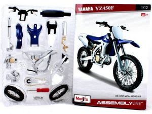 Maisto motorka 1:12 Kit - Yamaha YZ 450 F modrá