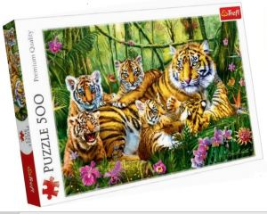 Puzle Trefl 500 dílků - Tygří rodinka  37350
