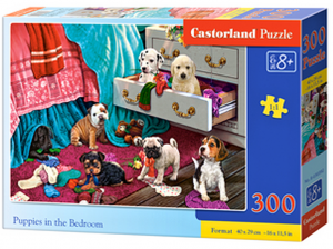 Puzzle Castorland 300 dílků - Štěňátka v ložnici  030392