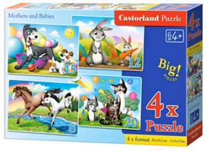 Puzzle Castorland 4v1 = 8-20 dílků Matky a jejich mláďata 041053