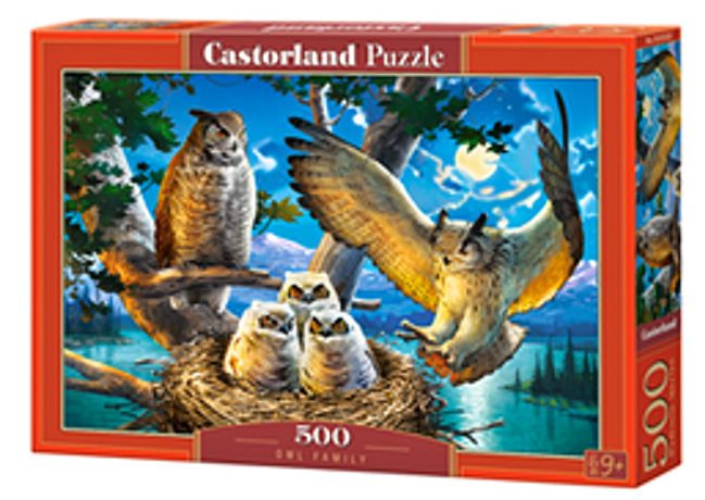 Puzzle Castorland 500 dílků - Soví rodinka 53322