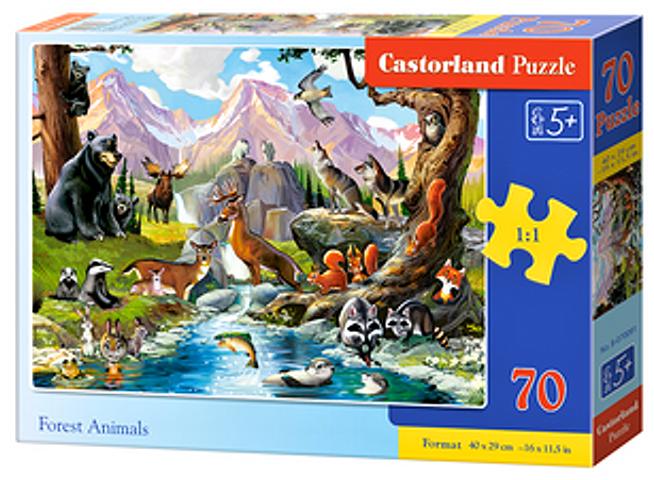 Puzzle Castorland 70 dílků premium - Lesní zvířata u potoka 070091