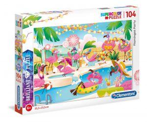 Puzzle Clementoni - 104 dílků  Briliant   -  Flamingos - plameňáci  20151