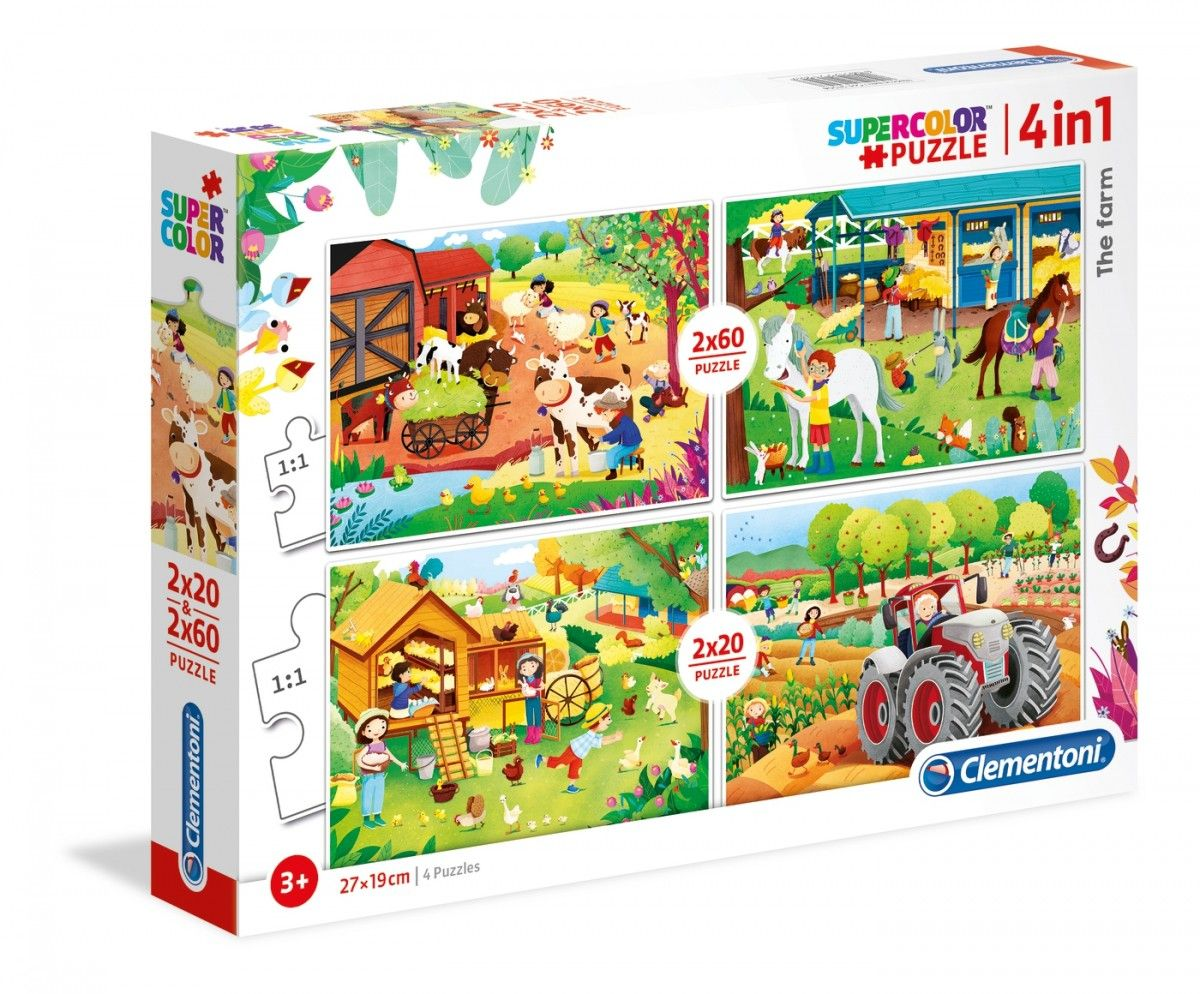 Puzzle Clementoni 2 x 20 a 2 x 60 dílků Farma 21304
