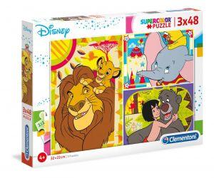 Puzzle Clementoni  - 3 x 48 dílků  - Disney - Lví král, Dumbo, Kniha džunglí     25236