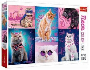 Puzzle Trefl  1000 dílků  - Neon Color Line - Kočky  10581