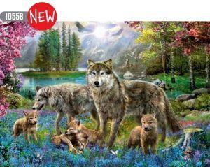 Puzzle Trefl  1000 dílků  -  vlčí rodina  10558