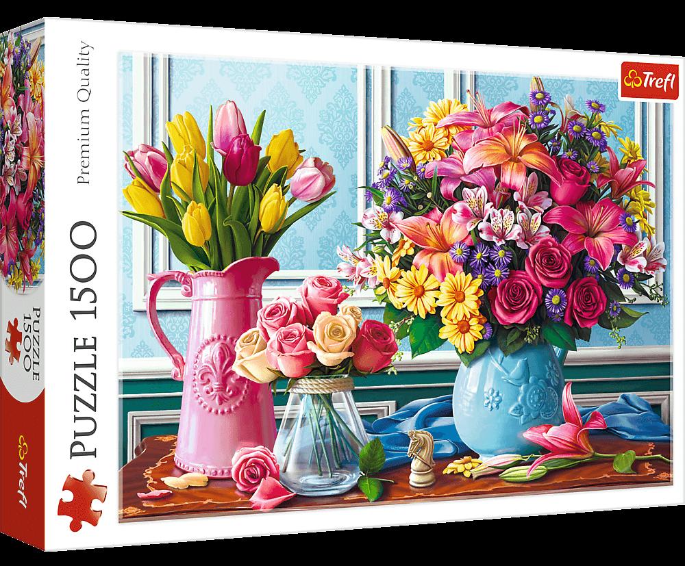 Puzzle Trefl 1500 dílků - Květiny ve vázách 26157