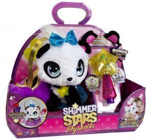 Shimmer Stars - třpytivý plyšák - Panda  s hůlkou a  s taštičkou