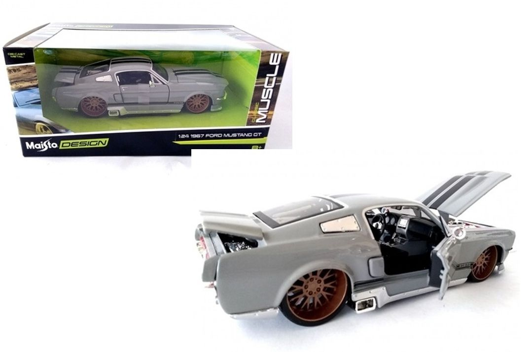 auto Maisto 1:24 Design - Ford Mustang GT 1967 - šedá barva