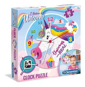 CLEMENTONI Puzzle hodiny jednorožec   96 dílků  23035