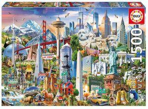 EDUCA Puzzle 1500 dílků  Symboly severní Ameriky 17670